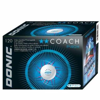 Donic   Trainingsball Coach P40+ ** Cell-Free   120 Stück weiß