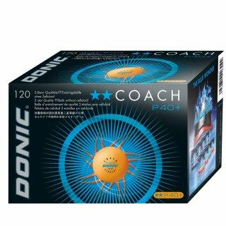 Donic | Trainingsball Coach P40+ ** Cell-Free | 120 Stück orange