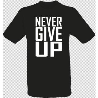 Spin und Speed   T-Shirt Never give up   schwarz