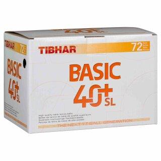 Tibhar | Trainingsball Basic 40+ SL  (ohne Naht) | 72 Stück weiß